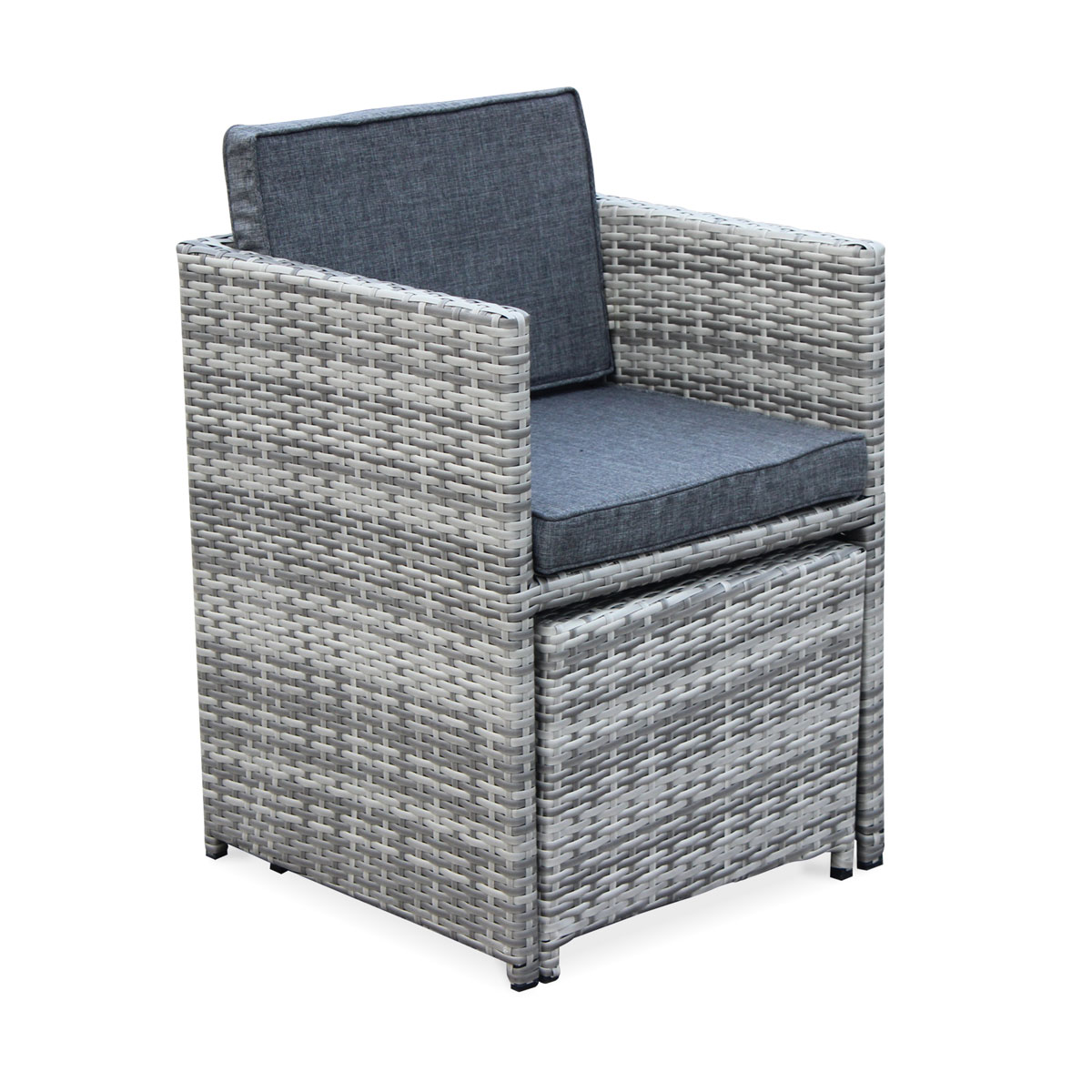 VASTO 8 Cube Dining Set Wicker Mix Grey
