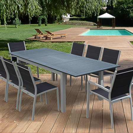 CHCAGO Extending Aluminium Dining Set 8 seater