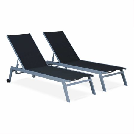 Set of 2x sun loungers aluminium stackable ELSA Grey Frame Black Fabric TXSUNKD