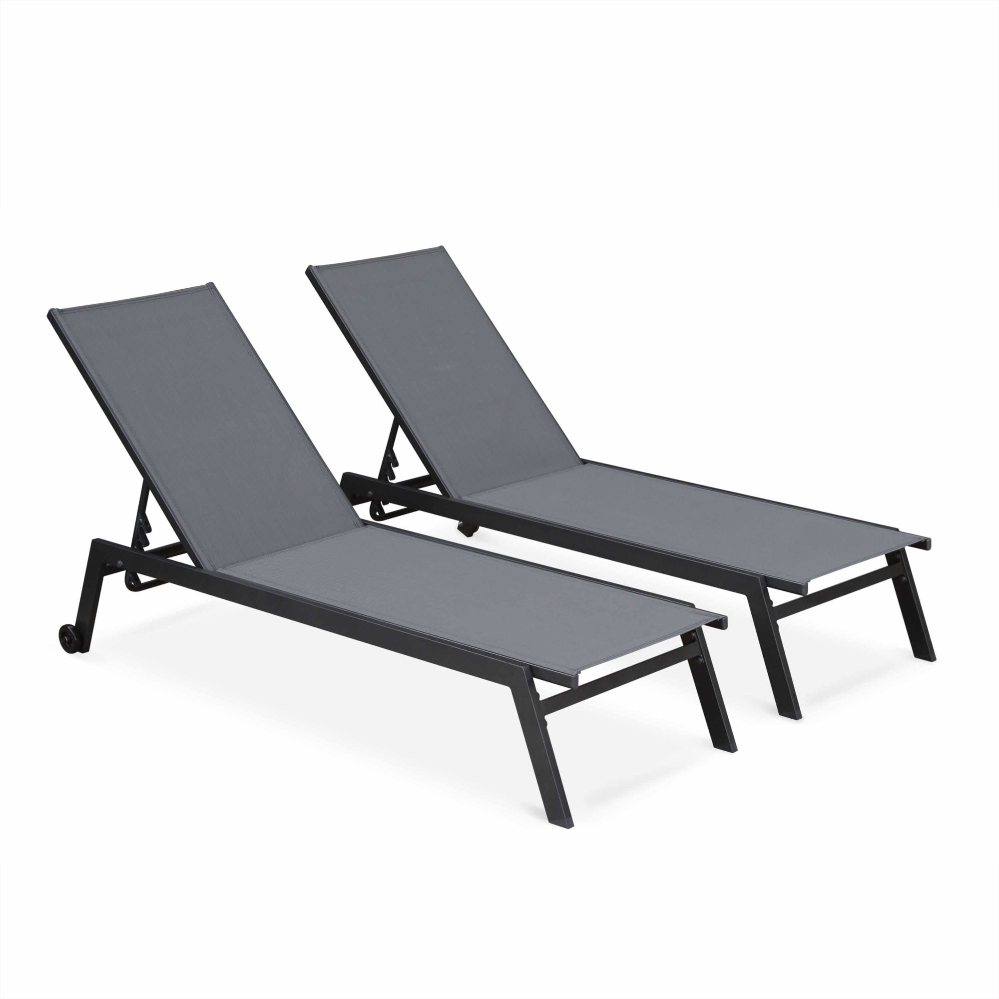 ELSA Set of 2x Aluminium Sun Loungers with wheels