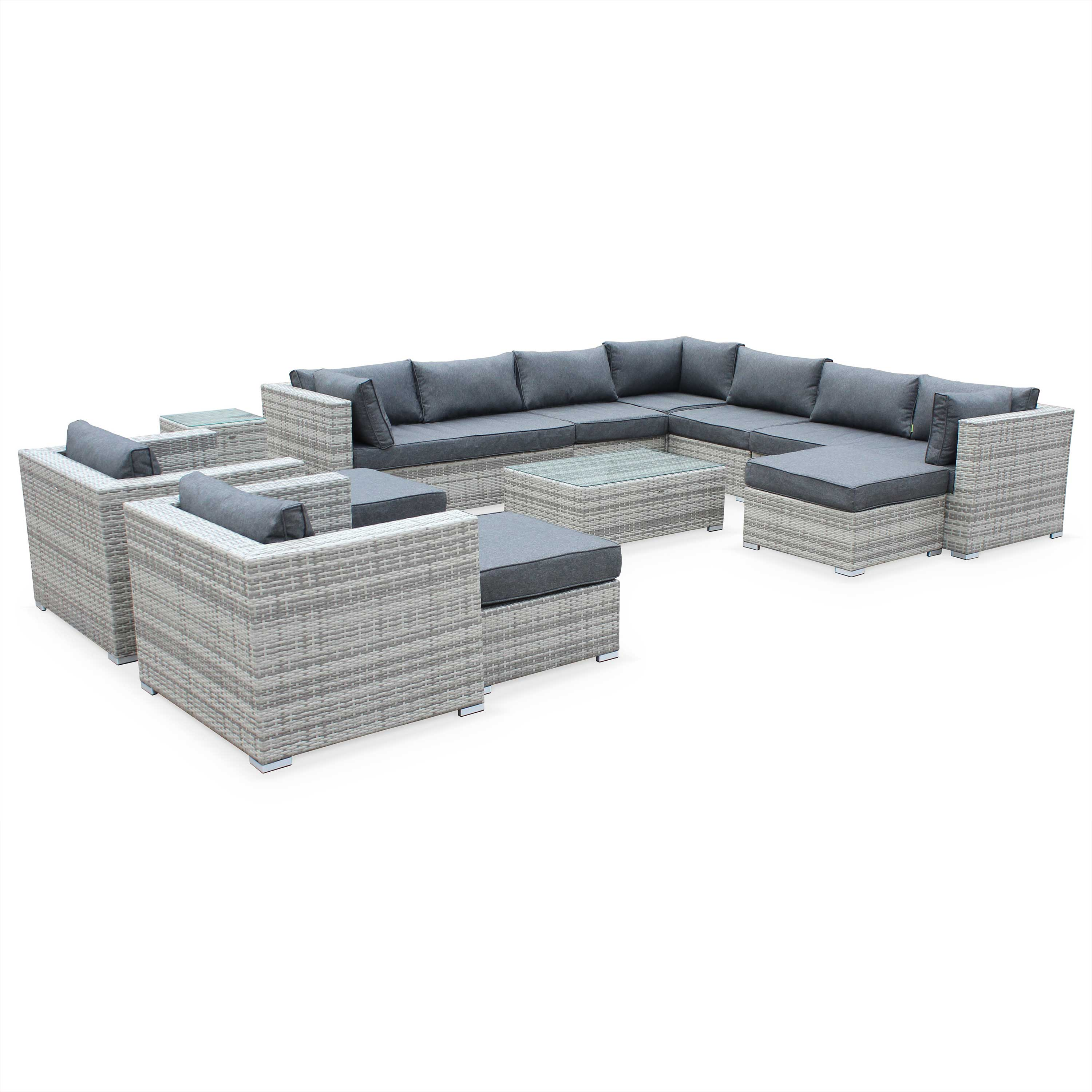 TRIPOLI 13 Seater Outdoor Lounge Set Mix Grey Wicker/Grey Cushions Aluminium Frame