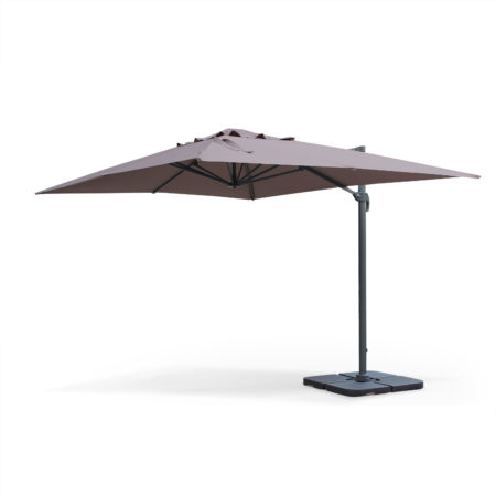 Rectangular Cantilever Outdoor Umbrella Parasol 3x4m in Aluminium Taupe Brown