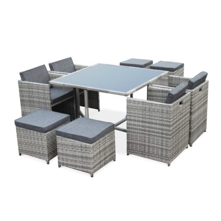 VASTO 8 Seater Dining Set in Grey Wicker Large